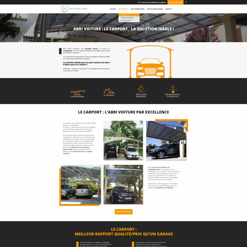 web design maquette de page du site AFC