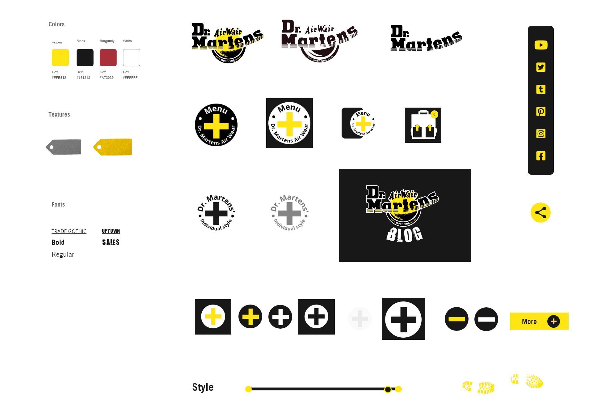 Typo couleurs icones refonte de site Dr Martens