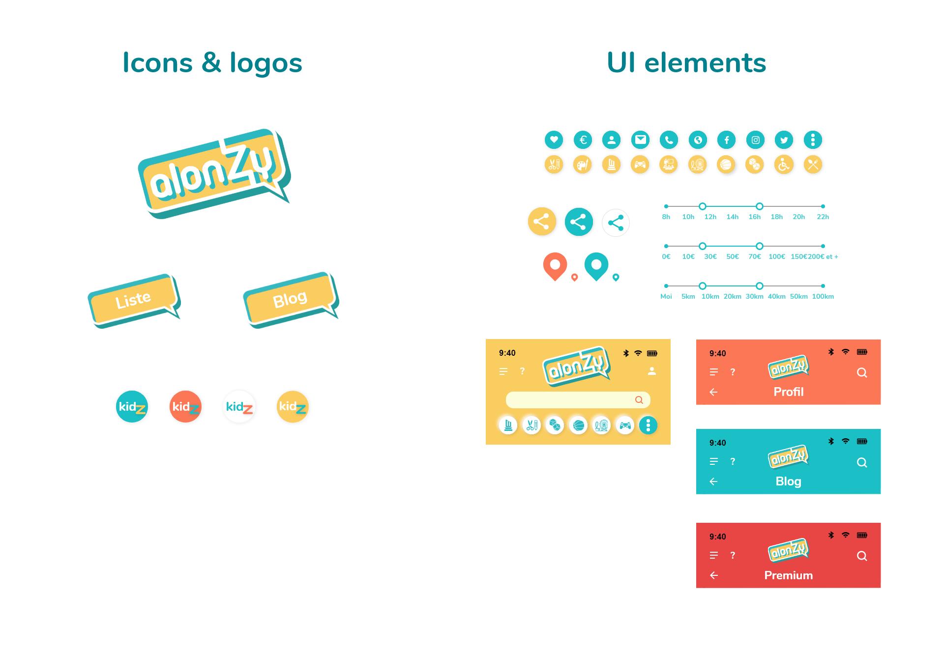 typographie appli mobile ALONZY