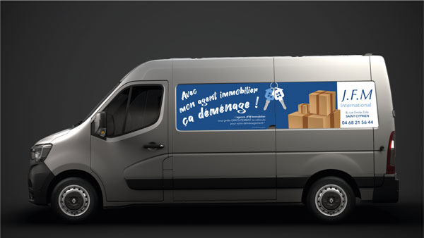 flocage-camionnette-cote-agence-immobiliere-jfm-saint-cyprien